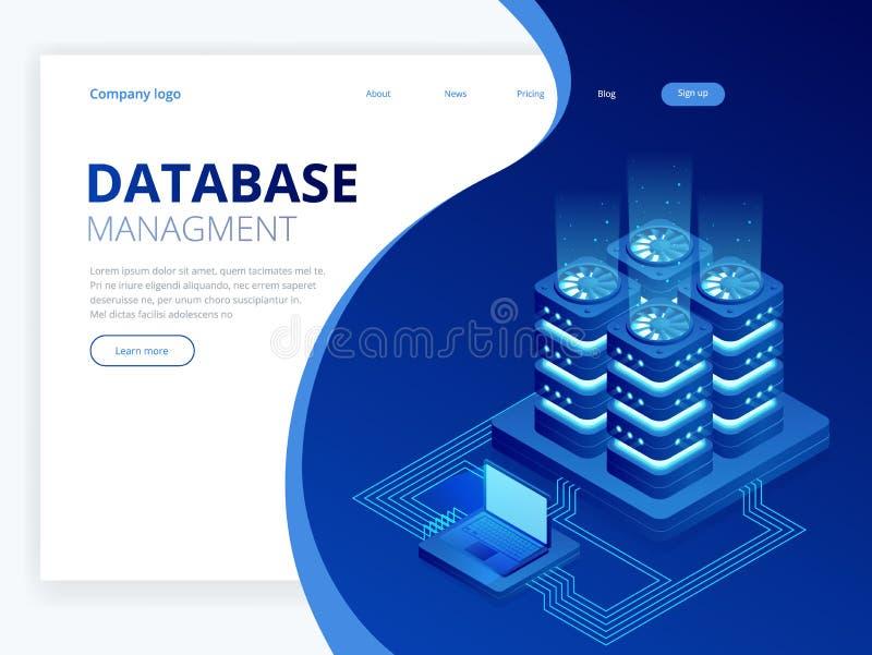 Isometrisk databasnätverksledning Stora data - bearbeta, energistation av framtid It-tekniker Turning Server royaltyfri illustrationer