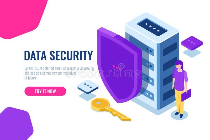 Isometrisk datasäkerhet, databassymbol med skölden och tangent, datalås, personlig service av säkerhet, kvinnor med bärbara dator stock illustrationer