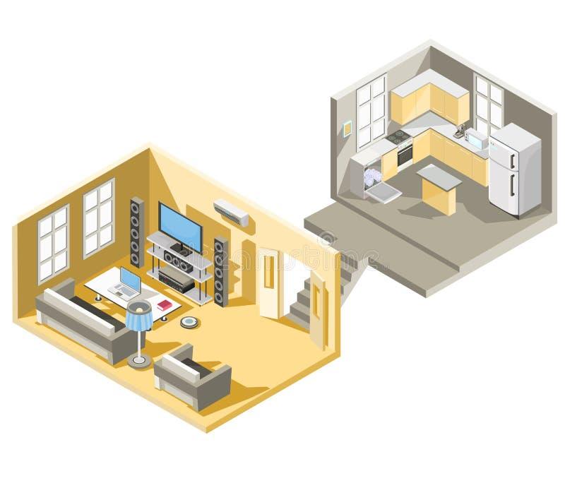 isometrisk design av en vardagsrum och ett kök vektor illustrationer