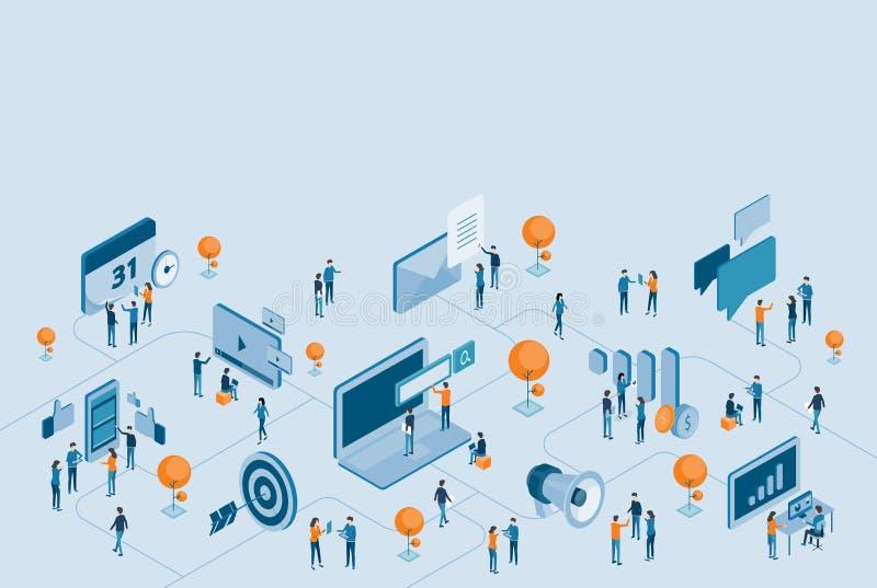 Isometrisk design för anslutning för digital marknadsföring för affär online- royaltyfri illustrationer
