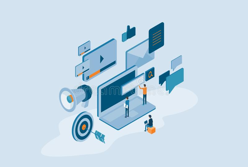 Isometrisk design för digitalt marknadsföringsinnehåll för affär direktanslutet vektor illustrationer