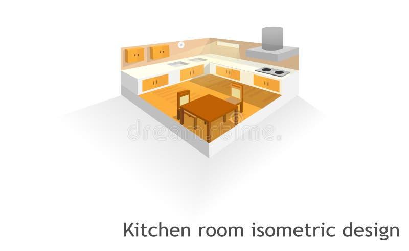 Isometrisk design för kökrum royaltyfri illustrationer
