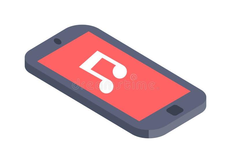 Isometrisk design för lägenhet för telefonvektorillustration stock illustrationer