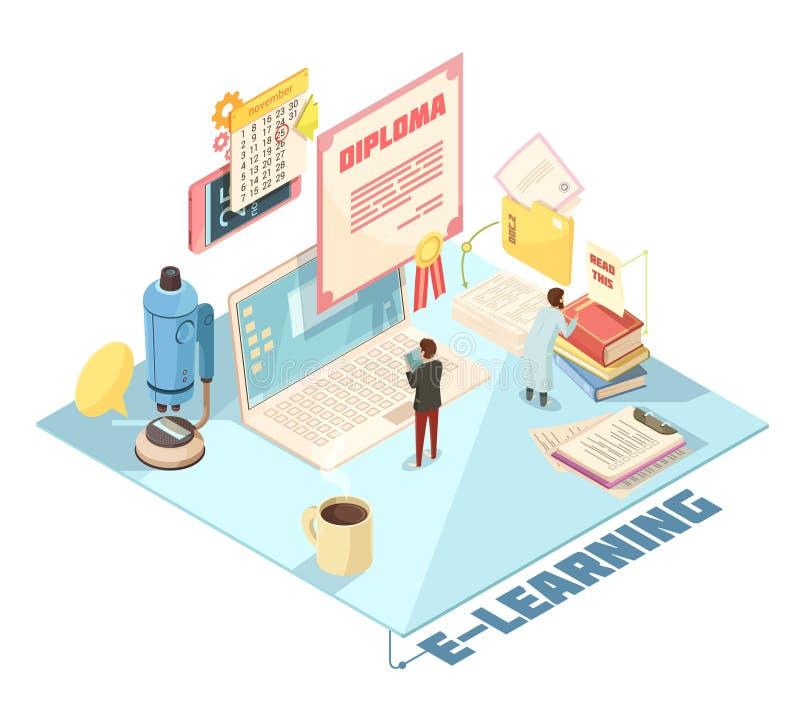 Isometrisk design för online-utbildning stock illustrationer