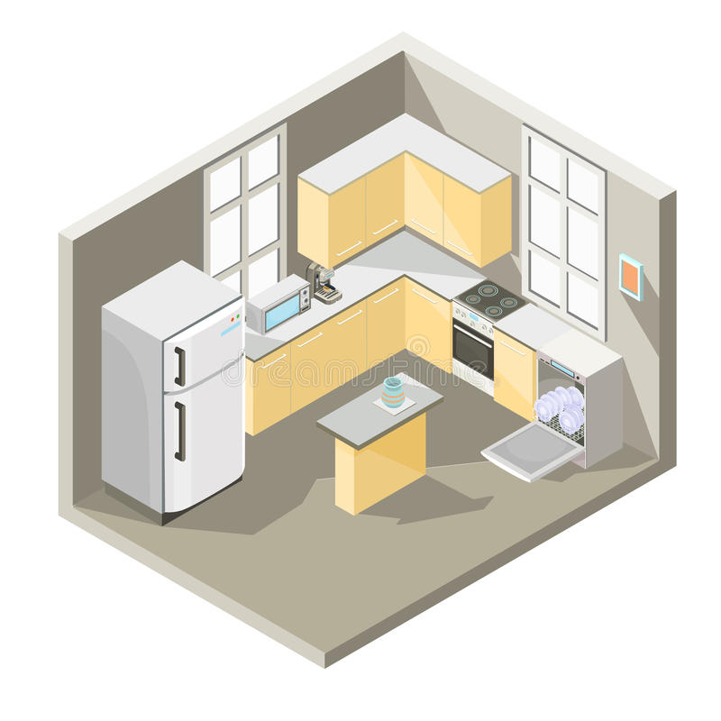 Isometrisk design för vektor av ett kök vektor illustrationer