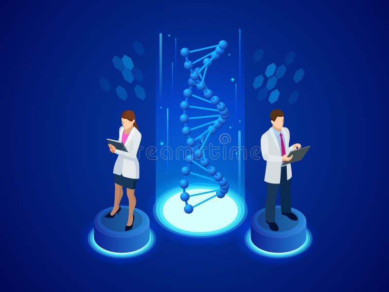 Isometrisk Digital DNAstruktur i blå bakgrund Retro laboratoriumutrustning och böcker nära belysningstearinljus på mörk bakgrund  royaltyfri illustrationer