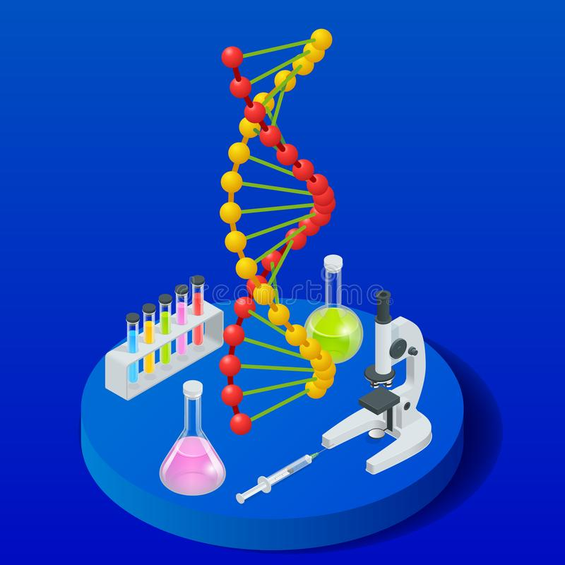 Isometrisk Digital DNAstruktur i blå bakgrund Retro laboratoriumutrustning och böcker nära belysningstearinljus på mörk bakgrund  stock illustrationer