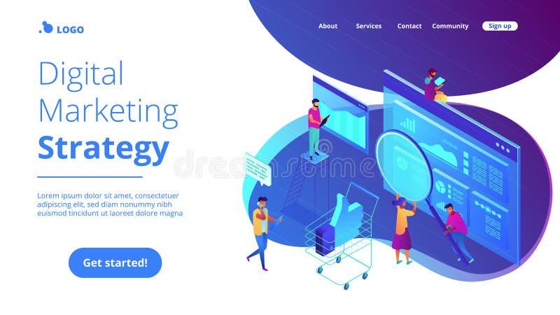 Isometrisk digital sida för landning för marknadsföringsstrategi stock illustrationer