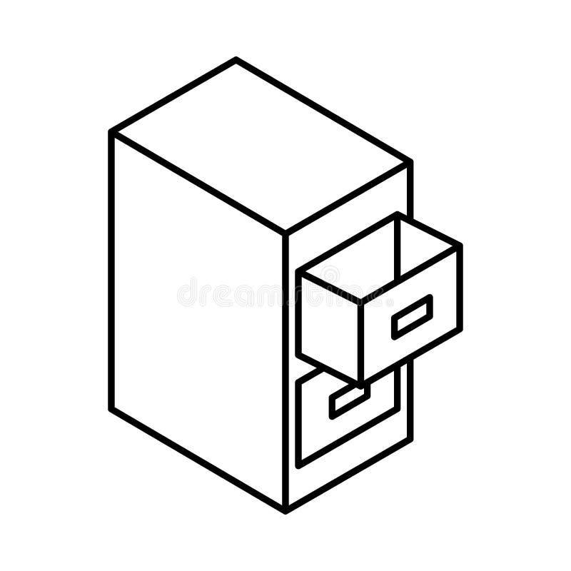 Isometrisk dokumentdokumentskåp stock illustrationer
