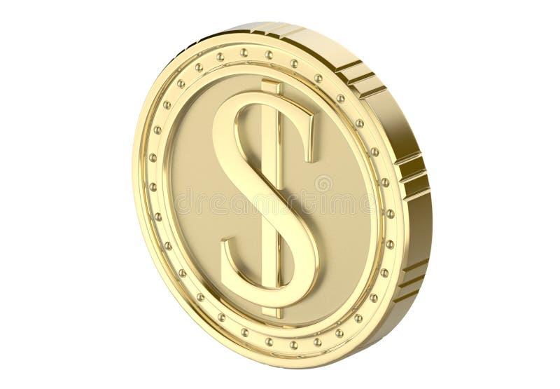 Isometrisk dollar för guld- mynt, med en bild av en dollarhög 3D framför, isolerat på vit bakgrund stock illustrationer