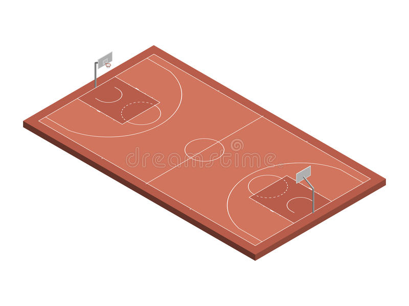 isometrisk domstol för basket 3D, isolerad vektorillustration royaltyfri illustrationer