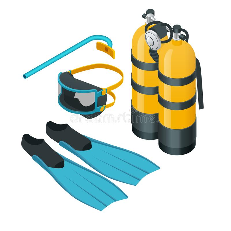 Isometrisk dyka utrustning Tryckluftsapparatmaskeringsrör och flipper för att dyka vektorillustrationen som isoleras på vit bakgr stock illustrationer
