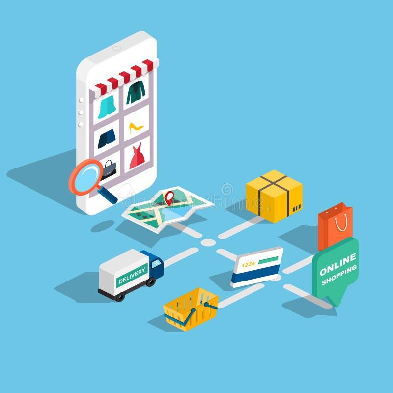 Isometrisk e-kommers för plan rengöringsduk 3d, elektronisk affär, online-sh stock illustrationer