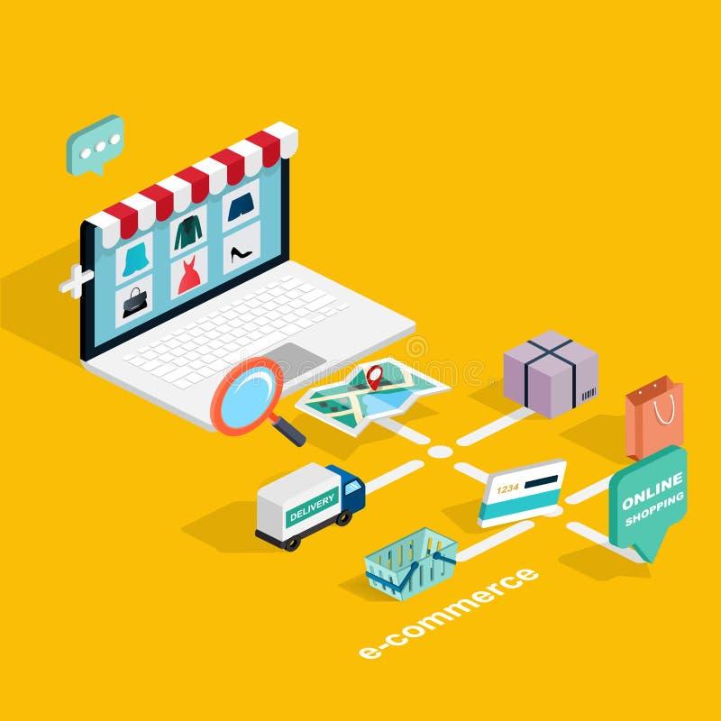 Isometrisk e-kommers för plan rengöringsduk 3d, elektronisk affär, online-sh vektor illustrationer