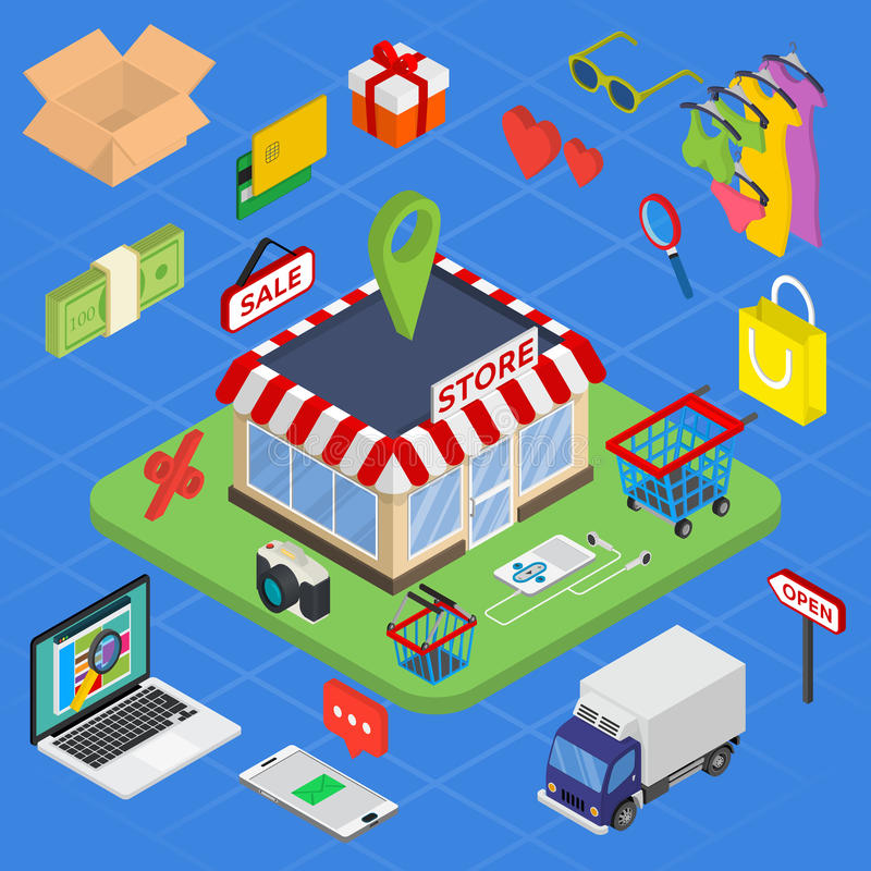Isometrisk e-kommers för plan rengöringsduk 3d, elektronisk affär, online-shopping royaltyfri illustrationer