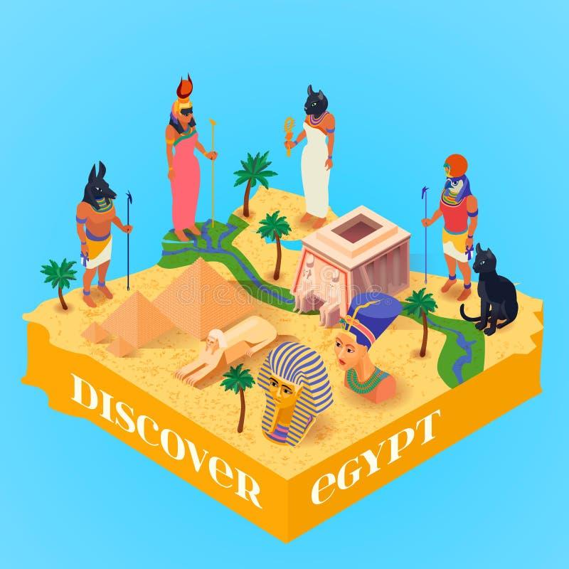Isometrisk Egypten affisch royaltyfri illustrationer