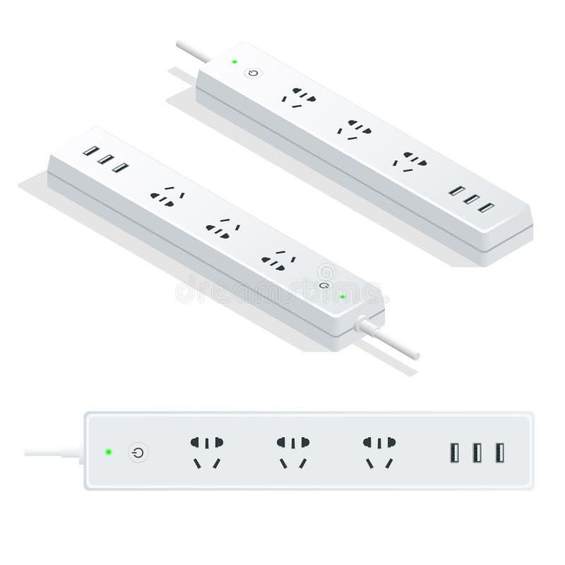 Isometrisk elektrisk förlängningskabel som isoleras på vit bakgrund Maktremsa med universell normal för elektriska håligheter stock illustrationer