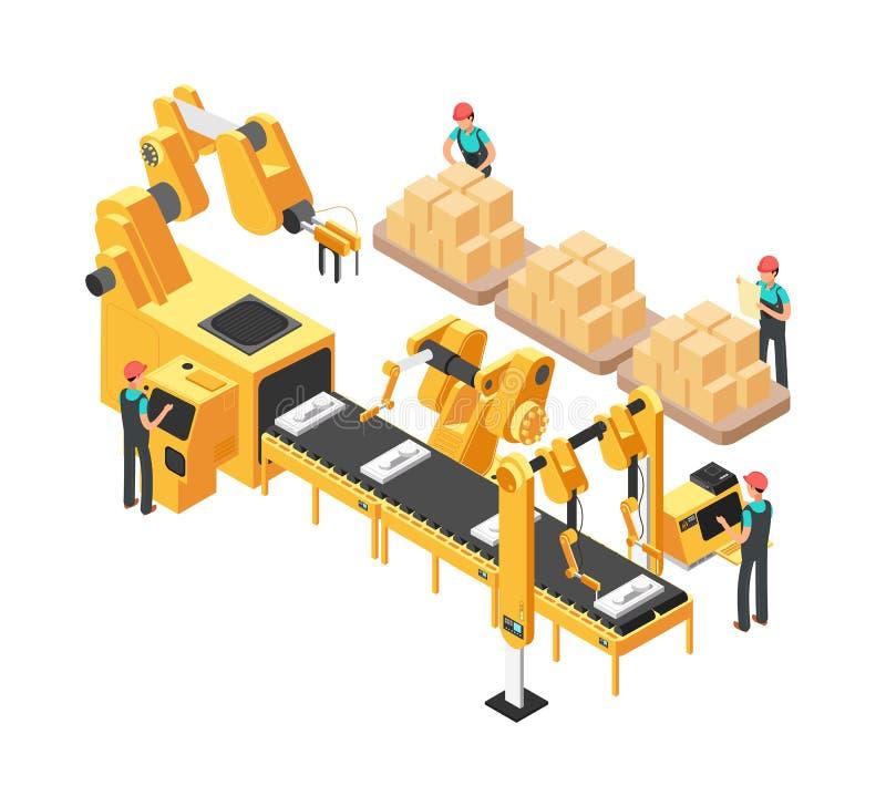 Isometrisk elektronisk fabrik med transportörmonteringsbandet, operatörer och robotar vektor för illustration 3d stock illustrationer
