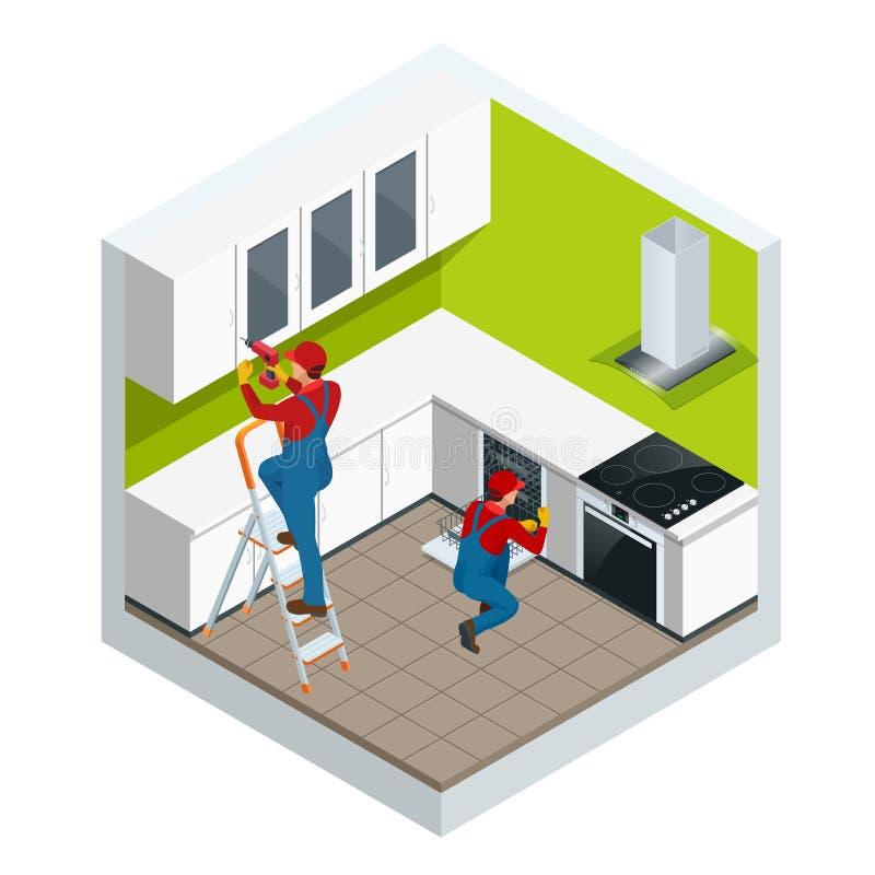 Isometrisk enhet av kök av möblemang i begreppet för studiolägenhet Repairman i overaller som reparerar kabinettet vektor illustrationer