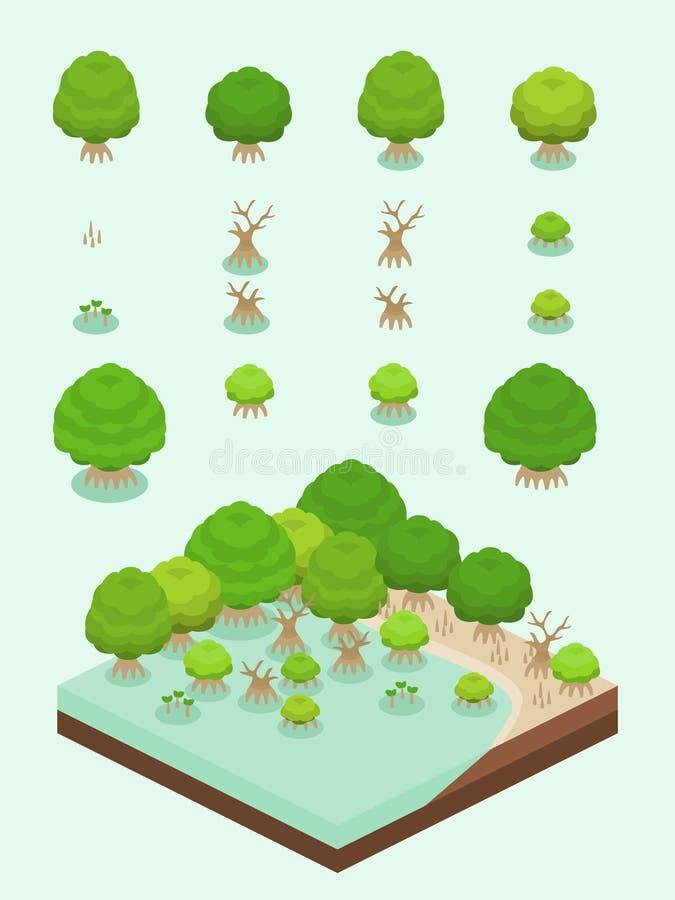 Isometrisk enkel växtuppsättning - mangroveskog vektor illustrationer