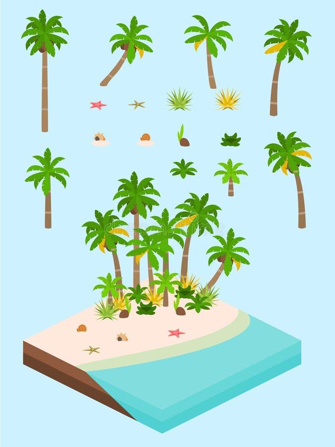 Isometrisk enkel växtuppsättning - strandvegetation vektor illustrationer