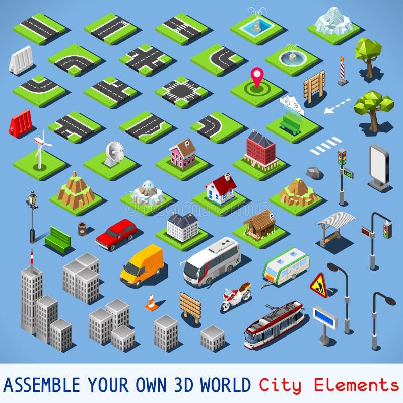 Isometrisk FÄRDIG uppsättning för stad 01 vektor illustrationer