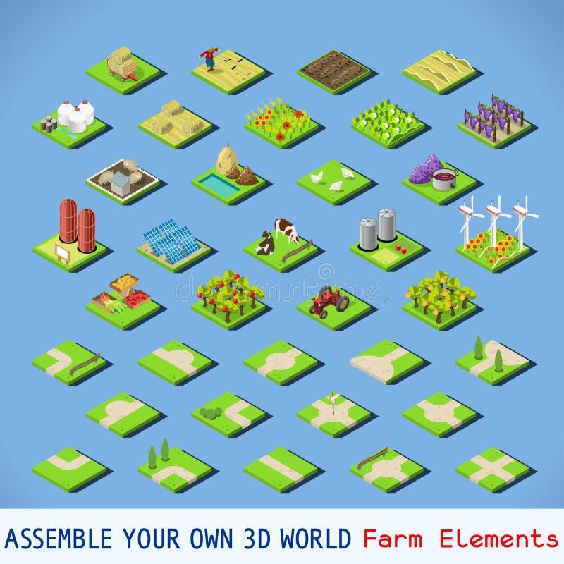 Isometrisk FÄRDIG uppsättning för stad 02 royaltyfri illustrationer