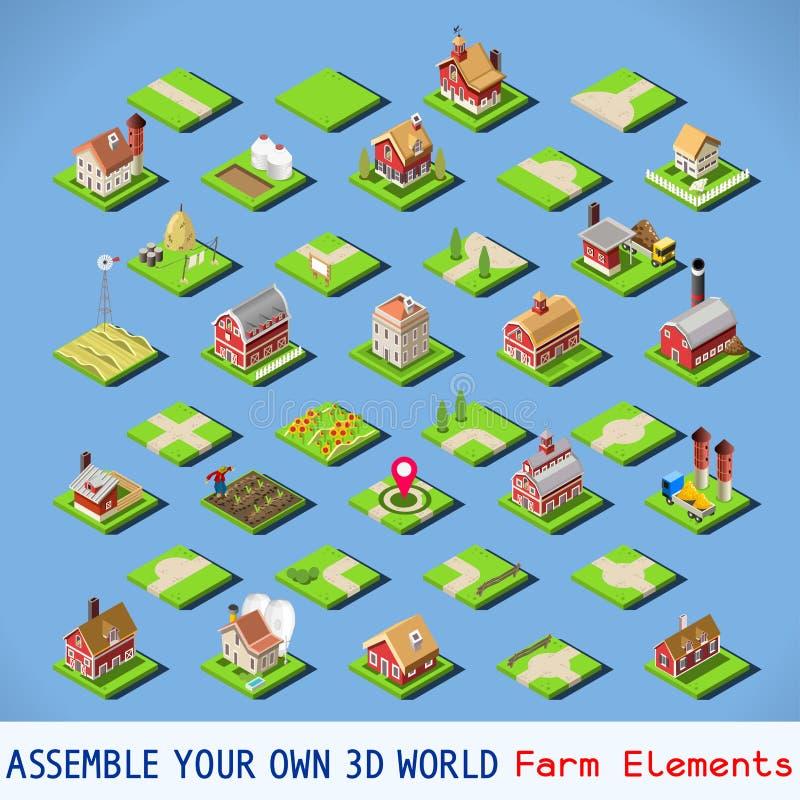 Isometrisk FÄRDIG uppsättning för stad 03 stock illustrationer