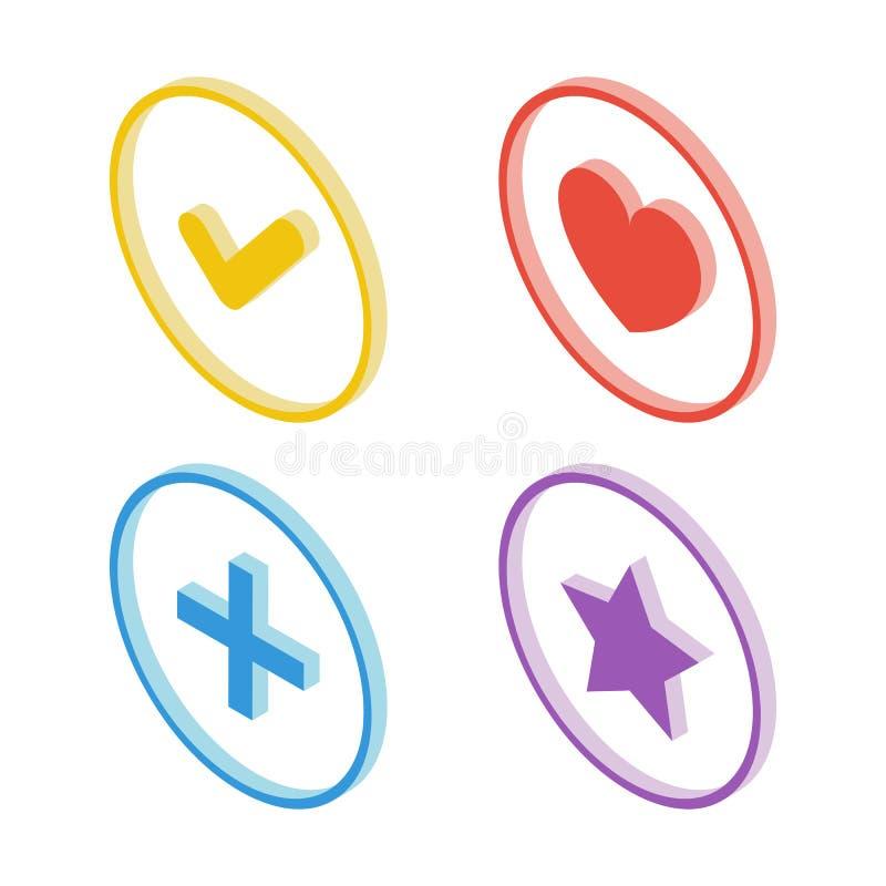 Isometrisk fästingsymbol Isometrisk hjärtasymbol Isometrisk stjärnasymbol Isometriskt plus teckensymbol royaltyfri illustrationer