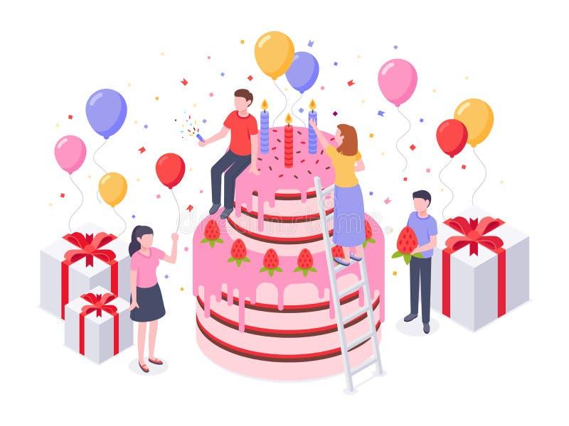 Isometrisk födelsedagkaka Partikonfettier, kakor framlägger, och födelsedagar förvånar den stekheta gåvavektorillustrationen royaltyfri illustrationer