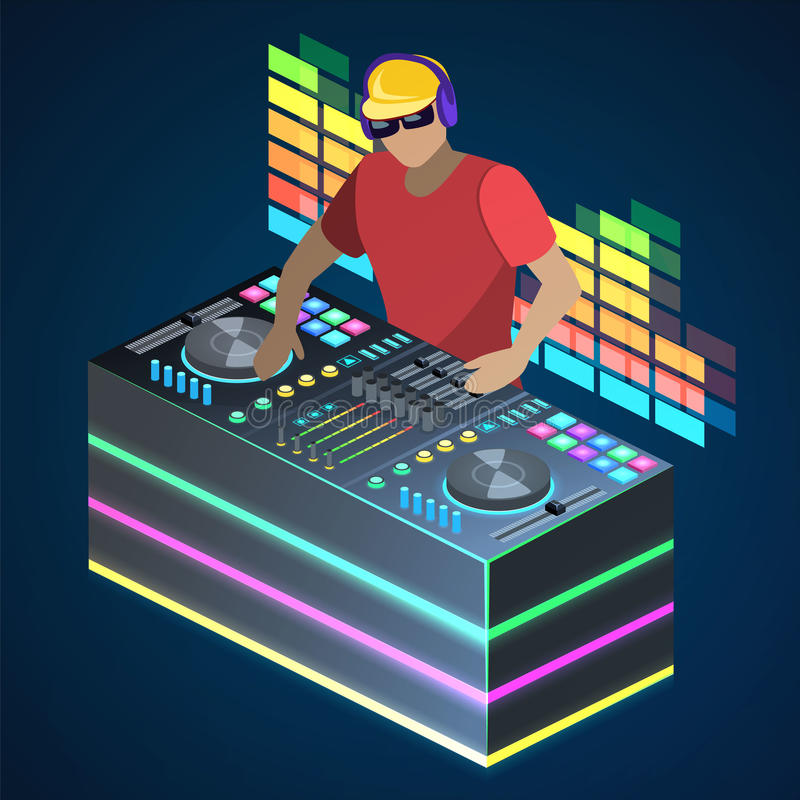 Isometrisk för begreppsjackett för lägenhet som 3D discjockey spelar vinyl Skivtallrikar för konsol för blandare för discjockeyma vektor illustrationer