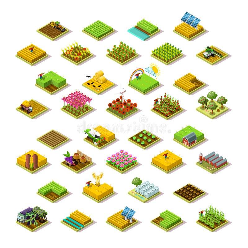 Isometrisk för byggnadssymbol för lantgård 3D illustration för vektor för samling stock illustrationer