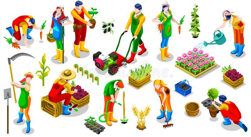 Isometrisk för folksymbol för bonde 3D illustration för vektor för samling vektor illustrationer