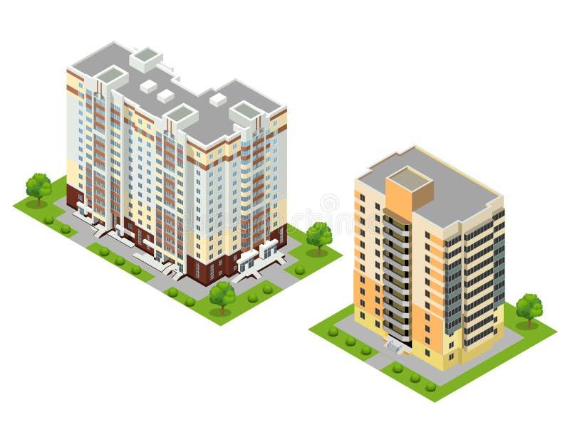 Isometrisk för stadbyggnader för lägenhet 3d illustration för vektor vektor illustrationer