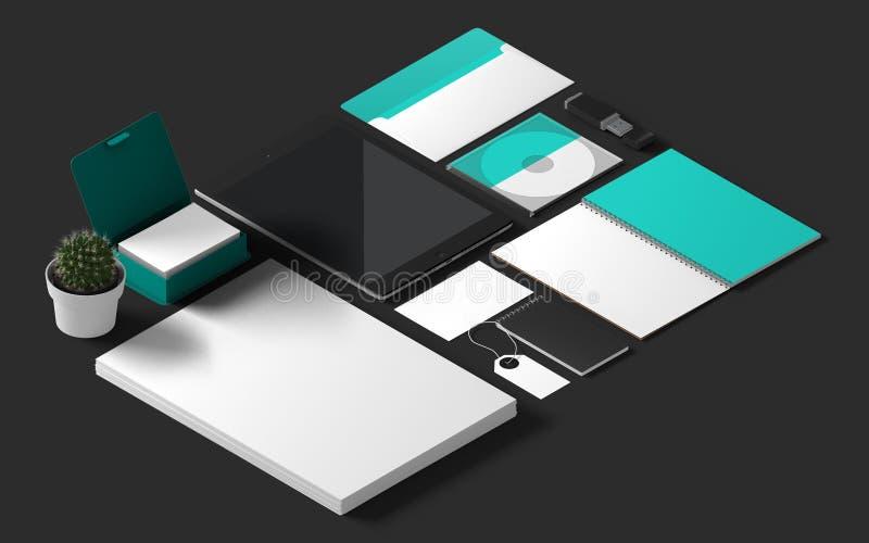 isometrisk företags identitet för modell 3d stock illustrationer