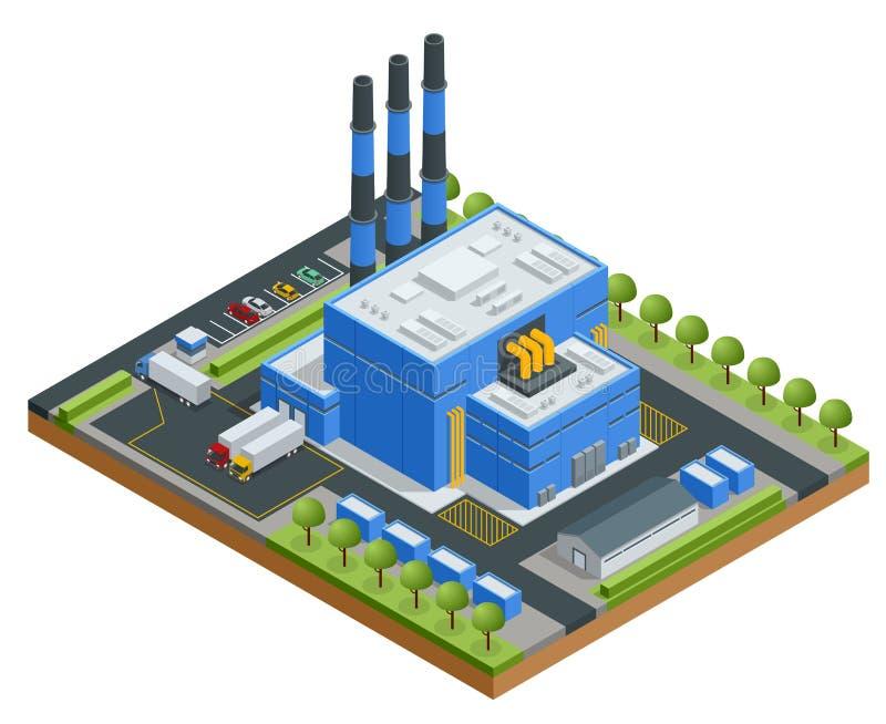 Isometrisk förlorad bearbetningsanläggning Teknologisk behandling Lastbil som transporterar avfall till återvinningsanläggningen  stock illustrationer