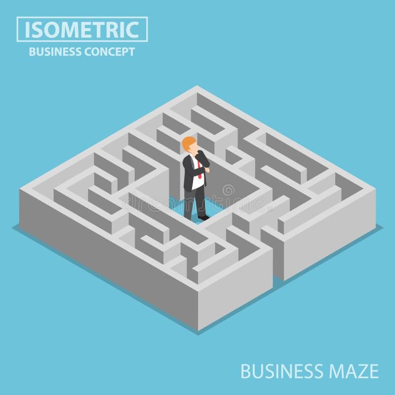 Isometrisk förvirrad affärsman som klibbas i en labyrint stock illustrationer