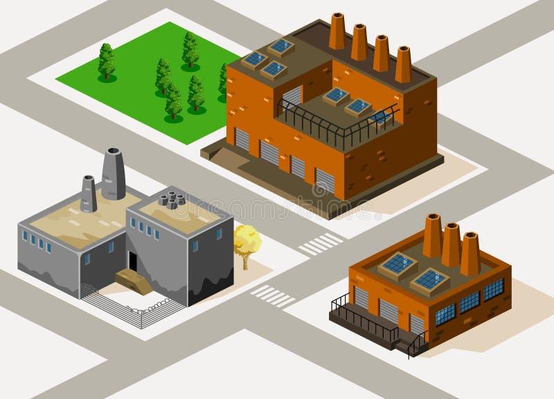 isometrisk fabrik vektor illustrationer