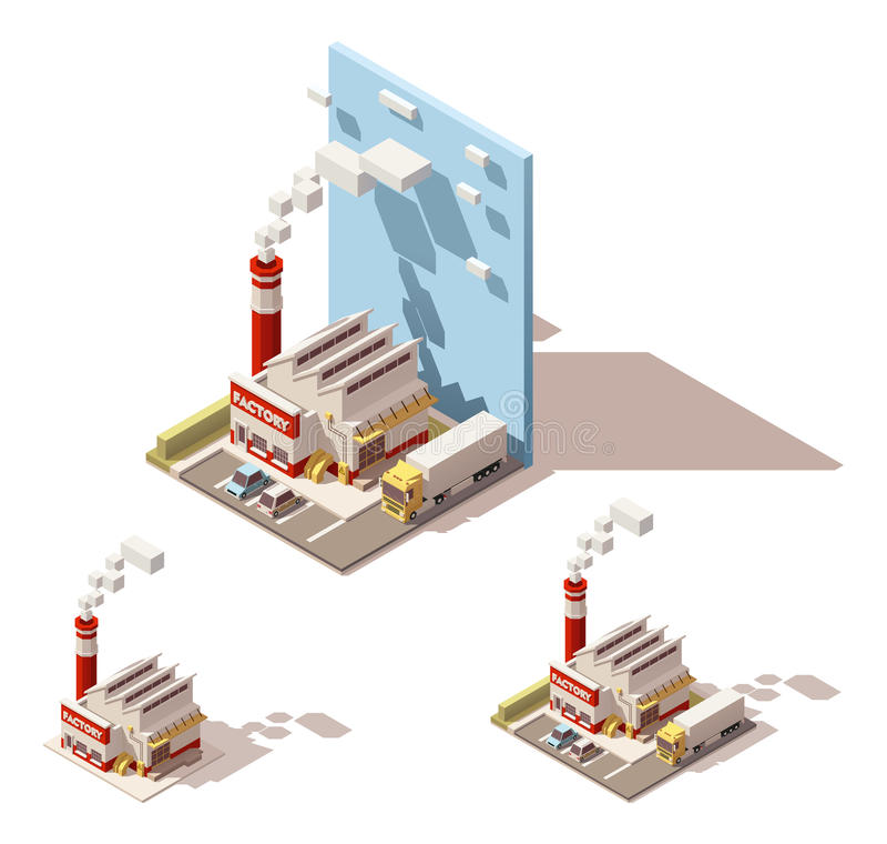 Isometrisk fabriksbyggnad för vektor med att röka rörsymbolen stock illustrationer