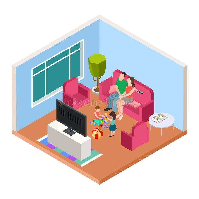 Isometrisk familjtid Vektorföräldrar och ungar som håller ögonen på TV och att spela Lycklig föräldraskapillustration stock illustrationer