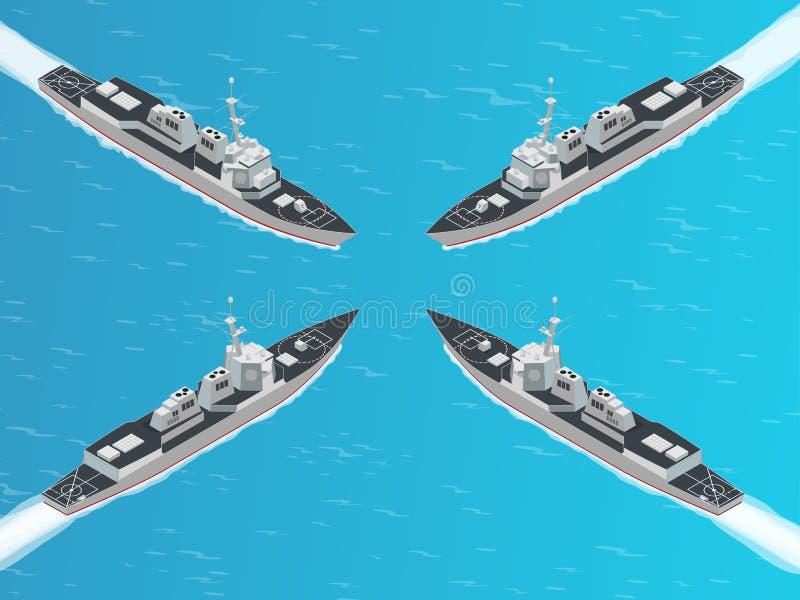 Isometrisk fjärrstyrd robotjagare För Arleigh för vektorhöjd kvalitets- jagare Undvika-grupp fjärrstyrd robot Militärt skepp stock illustrationer