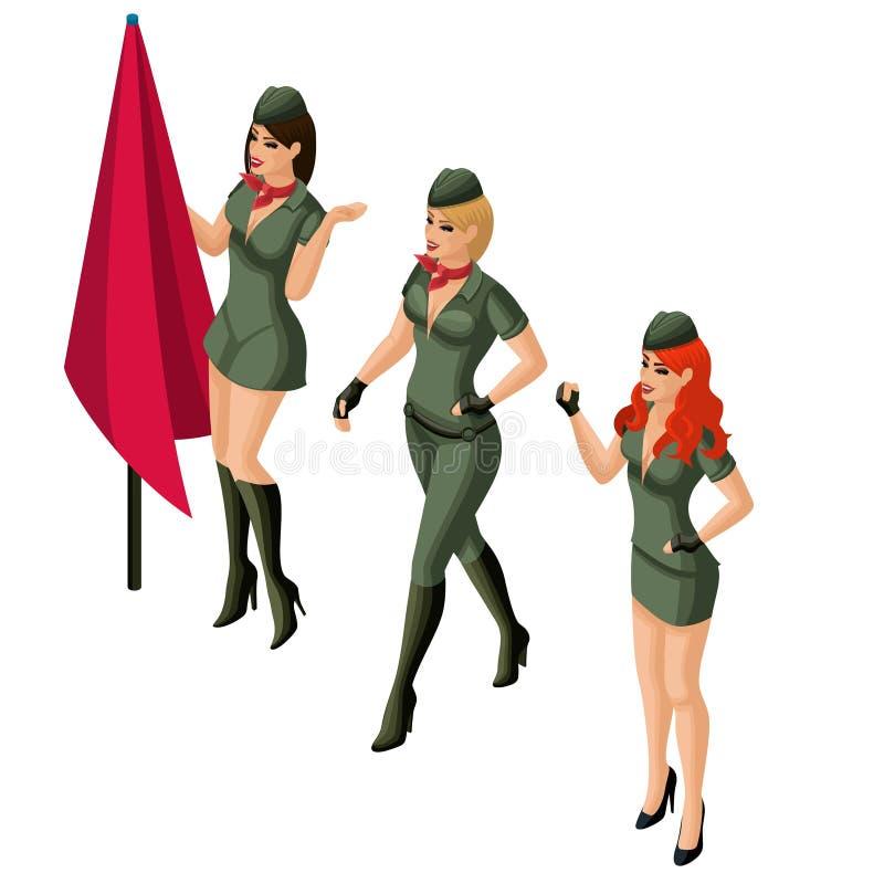 Isometrisk flicka, 3D flicka i militär likformig, blondin, brunett, rödhårig man Utmärkt diagram ljusa sminktecken på Februari 23 stock illustrationer