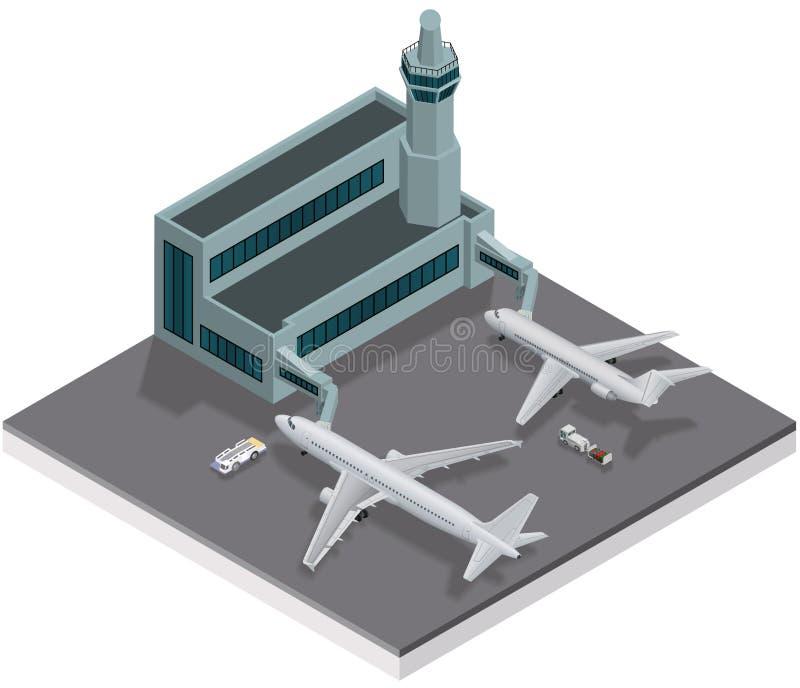 Isometrisk flygplats vektor illustrationer