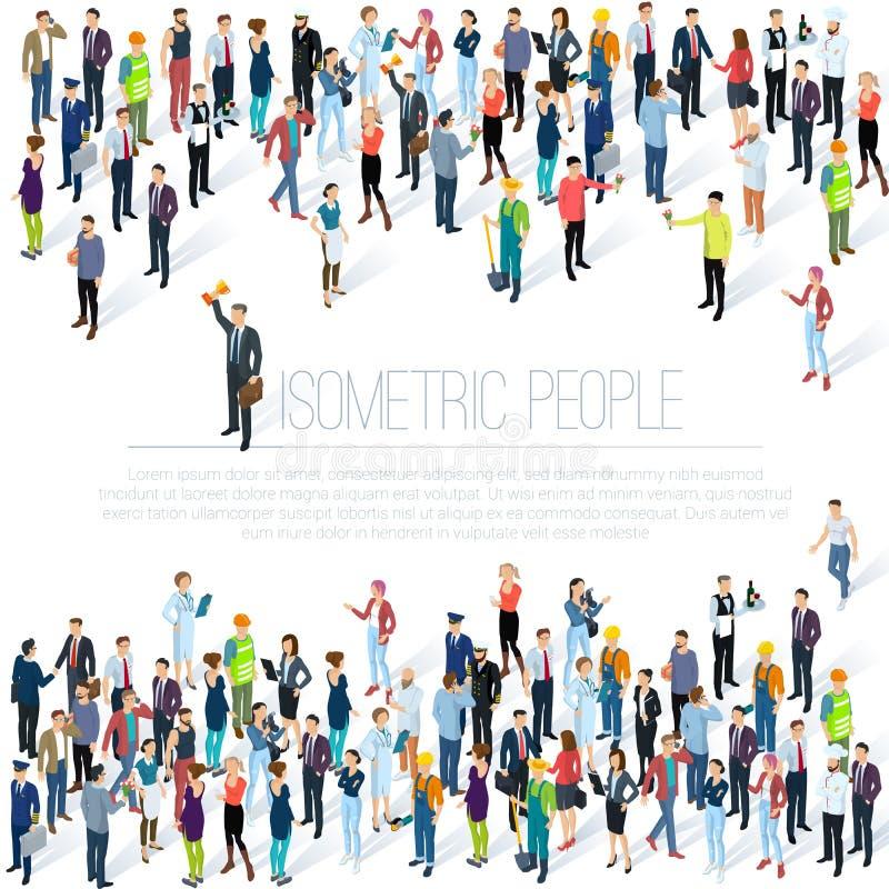 Isometrisk folkfolkmassa stock illustrationer