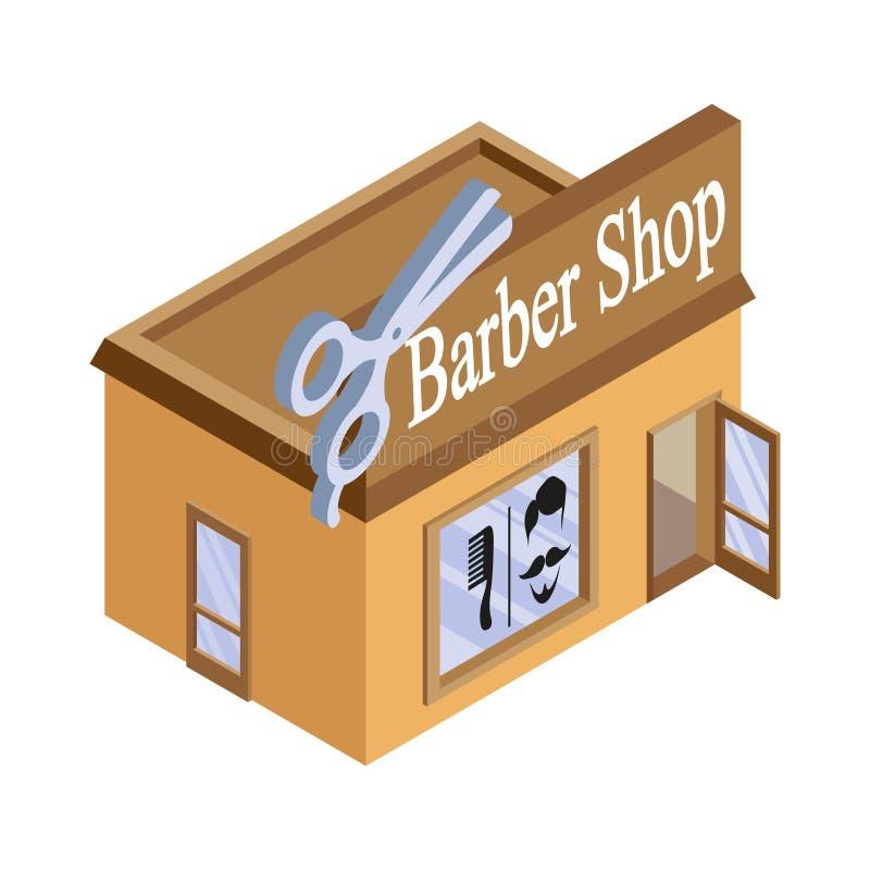 Isometrisk frisersalong för vektor Fasad av frisersalongen som isoleras på vit bakgrund Barberarehus Snitthårbyggnad _ stock illustrationer