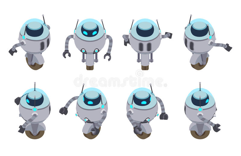 Isometrisk futuristisk robot royaltyfri illustrationer