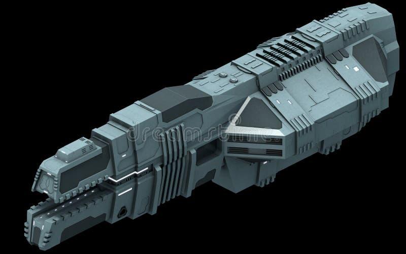 Isometrisk futuristisk science fictionarkitektur, behållarelastfartyg framförande 3d royaltyfri illustrationer