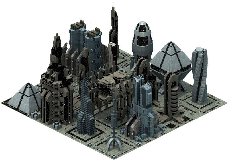 Isometrisk futuristisk science fictionarkitektur, stadsbyggnader av framtiden framförande 3d vektor illustrationer