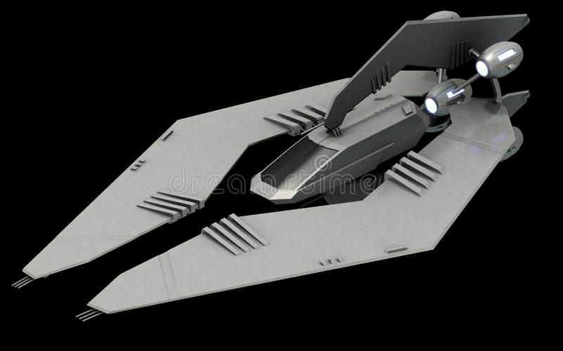 Isometrisk futuristisk science fictionarkitektur, stealthutrymmekämpe framförande 3d stock illustrationer