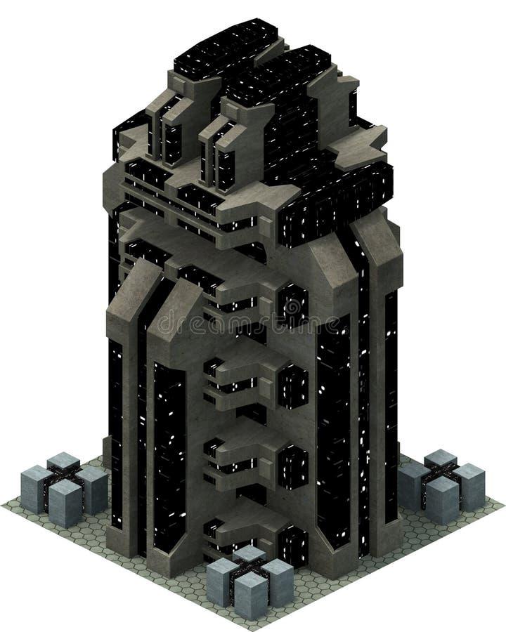 Isometrisk futuristisk science fictionarkitektur, utrymmebyggnad framförande 3d vektor illustrationer